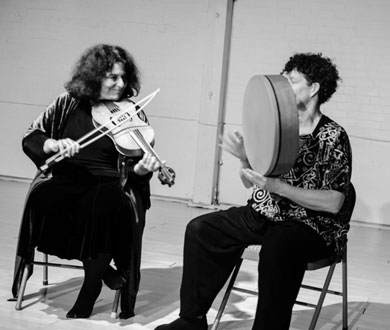 Shira Kammen and I performing at Berkeley Moving Arts 10/12 - Photo by Susan Freundlich