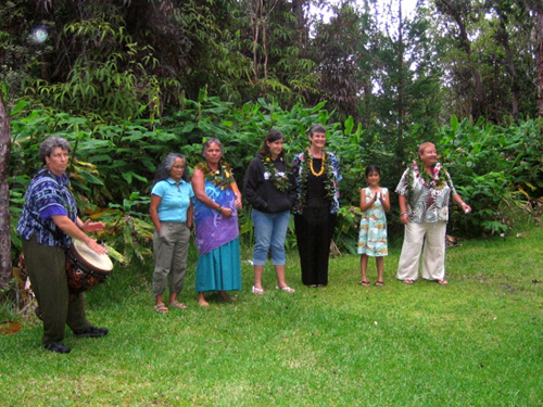 Debbie Fier-Drumming and ritual in the rainforest, Volcano, Hawaii